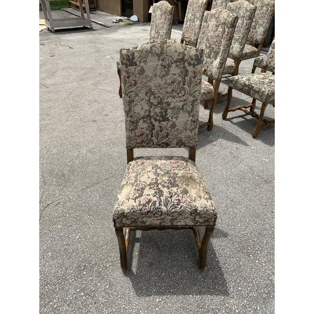 1900s Vintage French Louis XIII Style Os De Mouton Dining Chairs- Set of 10 For Sale - Image 10 of 13