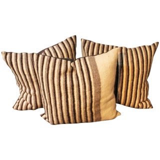 Group of Three Striped Indian Weaving Pillows For Sale