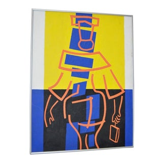 Sidney Budnick Original Modernist Geometric Abstract Painting C.1977 For Sale