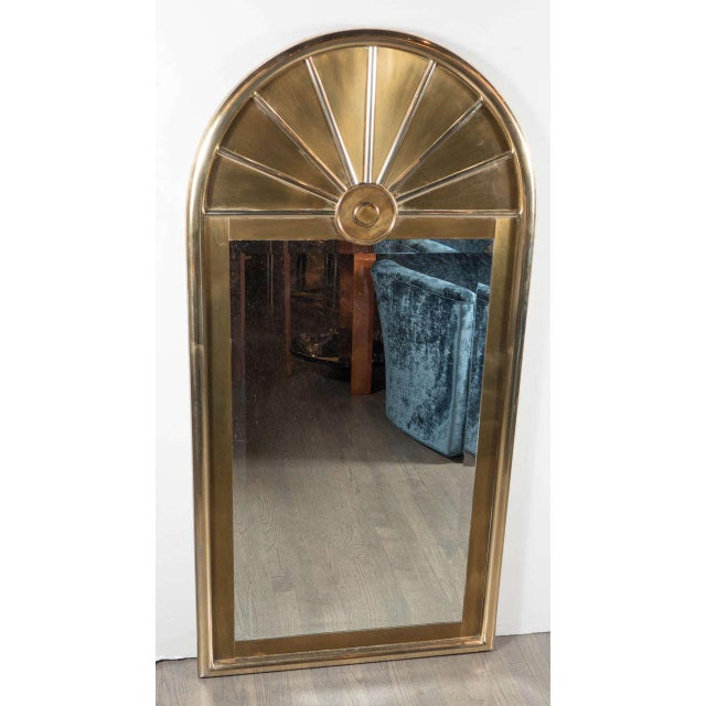 Pair of Mid-Centuy Modernist Arch Form Mirrors in Brushed Brass by Mastercraft - Image 2 of 6
