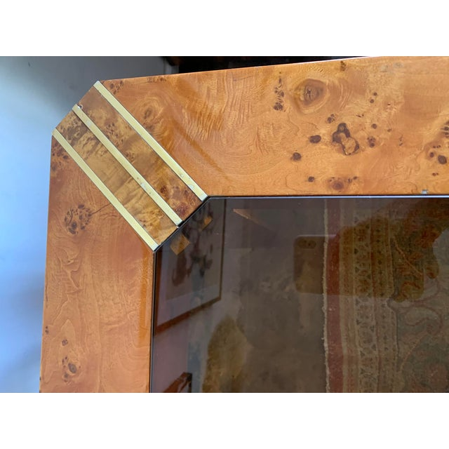 1970s Vintage Burlwood and Glass Dining Table For Sale In Los Angeles - Image 6 of 13