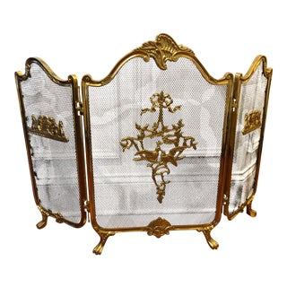Vintage Brass Fireplace Screen For Sale