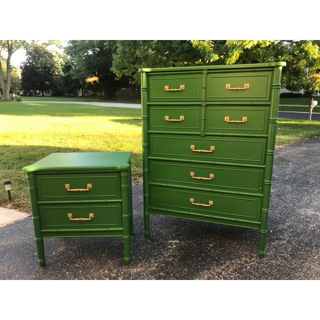 1960s Vintage Henry Link Bali Dresser and Night Stand For Sale - Image 5 of 5