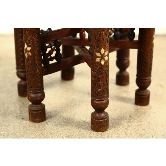 Islamic Moorish Brass Tray Side Table For Sale - Image 3 of 10