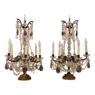 "Pair Antique French Signed Baccarat Crystal and Rock Crystal ""Girondolles"" Candelabra, Circa 1890. For Sale"