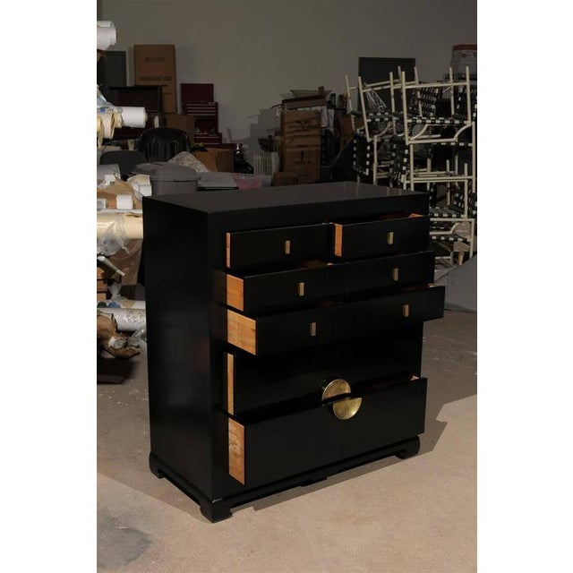 Modern Restored Modern Mahogany Commode by Albert of Shelbyville in Black Lacquer For Sale - Image 3 of 10
