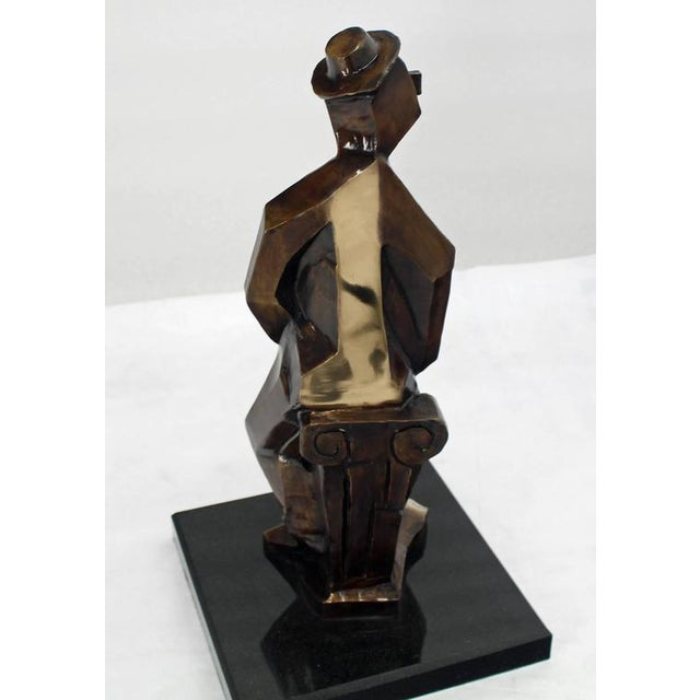 Early 20th Century Bronze Abstract Guitarist Sculpture after Picasso Numbered For Sale - Image 5 of 9