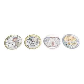 "Piero Fornasetti ""Antichi Planisferi"" Porcelain Coasters or Small Plates - Set of 4 For Sale"