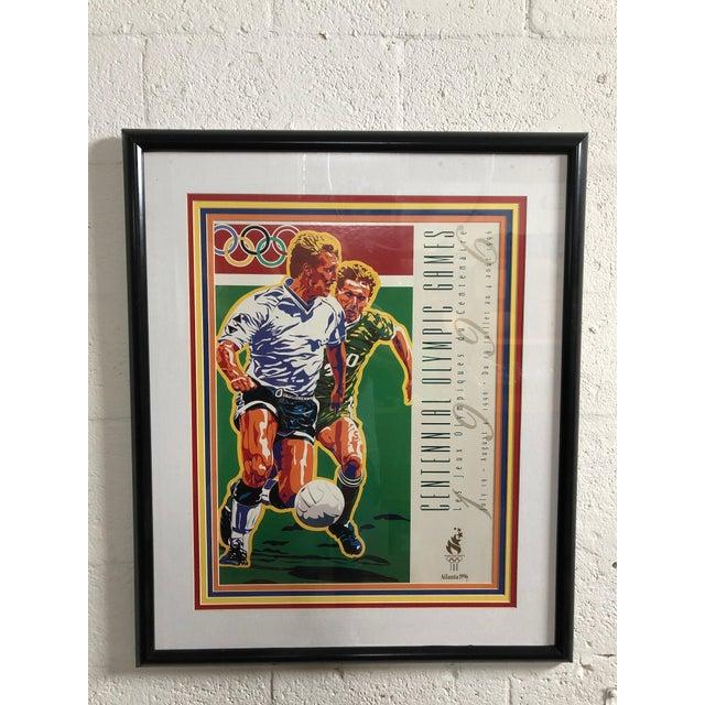 1990s Vintage Original Atlanta Summer Olympics Framed Soccer Poster For Sale - Image 10 of 10