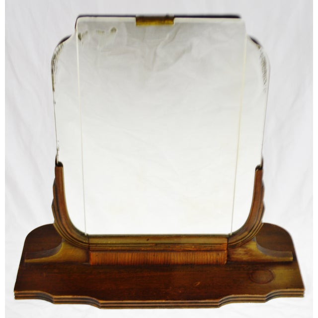 Art Deco Table Top Vanity Shaving Mirror Condition consistent with age and history. Some ghosting/oxidation to mirror;...