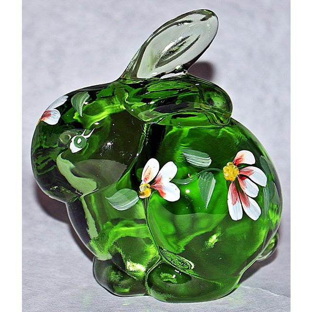 Adorable Fenton glass bunny, hand-painted for Fenton centennial with artists signature on base and loose original maker's...