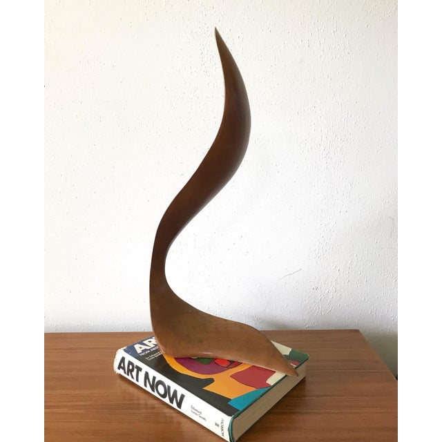 Brown Mid Century Signed Wood Flame Sculpture For Sale - Image 8 of 8