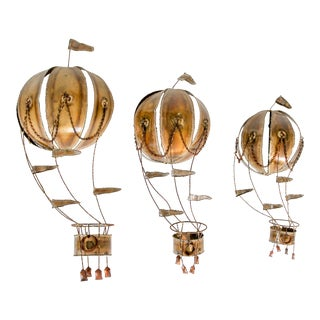 Set of Three Mid Century Brutalist Hot Air Balloon Wall Hangings For Sale