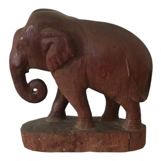 Large Vintage Carved Wood Elephant For Sale