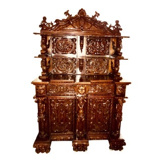 Carved Wood Grand Hutch For Sale