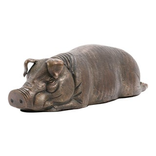 Vintage Bronze Reclining Pig Statue for Dept 56 Store Display For Sale