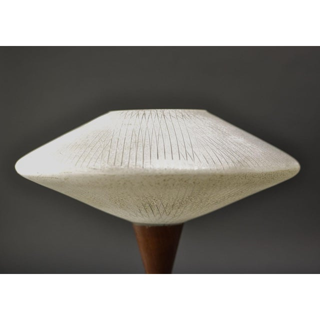 1950s Mid-Century Design Decorative Atomic Tripod Teak Brass Glass Table Lamp by Phillips, 1950s For Sale - Image 5 of 8
