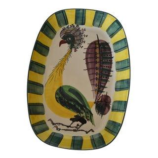 Vintage Denmark Royal Copenhagen Fajance Peacock Bird Pottery Platter Signed Ba For Sale