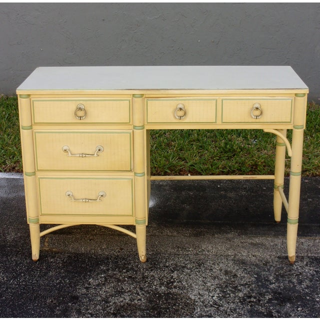 Mid-Century Faux Bamboo Cream Desk - Image 2 of 8