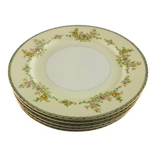 1950's Noritake Meito Fine China Floral Dinner Plates S-5 For Sale