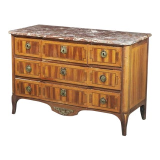 Antique 18th C Louis XV/XVI Transitional Inlaid Walnut Commode For Sale