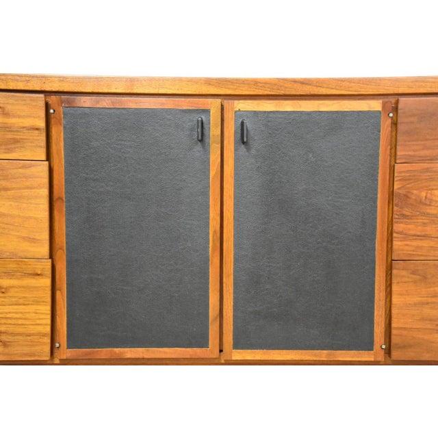 Walnut and Black Vinyl Dresser For Sale - Image 7 of 11