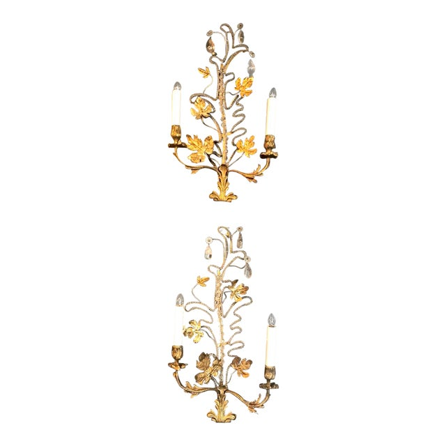 Pair Bagues-Style Beaded Sconces For Sale