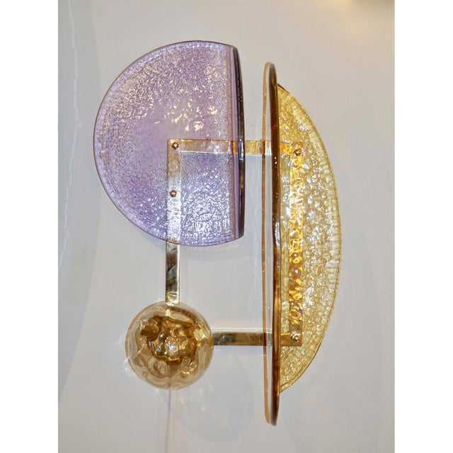 Purple Pair of Murano Glass Geometric Sconces by Fabio Ltd For Sale - Image 8 of 13