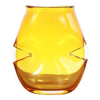 Vintage Mid Century Modern Yellow Art Glass Pinch Vase For Sale