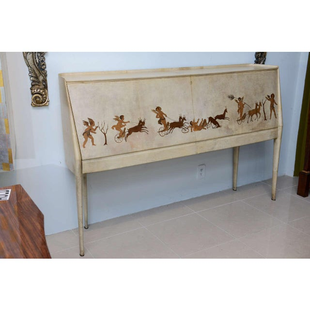 Glass Italian Modern Parchment and Inlaid Mixed Wood Drop Front Desk, Paolo Buffa For Sale - Image 7 of 9