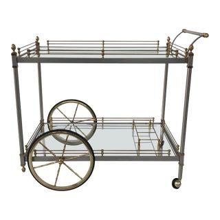 1970s Mid-Century Modern Maison Jansen Style Bar Cart For Sale