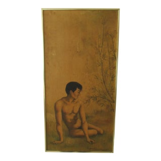 1960s Vintage Asian Inspired Male Nude in Bamboo Forest Painting For Sale