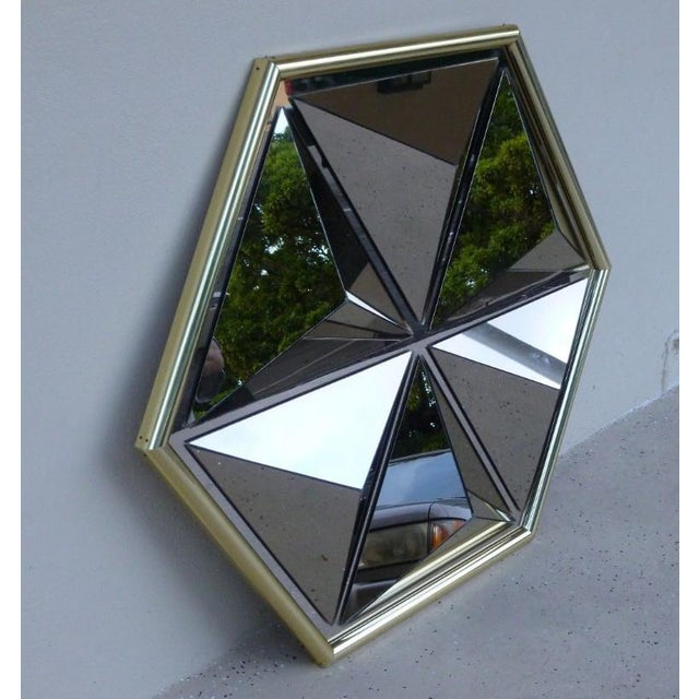 1970s Mid Century Modern Pyramid Mirror For Sale - Image 4 of 6
