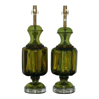 Marbro Murano Glass Table Lamps Lemon Lime For Sale