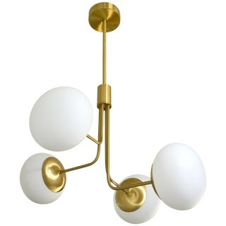 Contemporary Italian Modern Satin Brass & 4 White Murano Glass Globe Chandelier For Sale