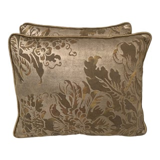 Custom Tortoise Brown & Silvery Gold Fortuny Pillows, Pair For Sale