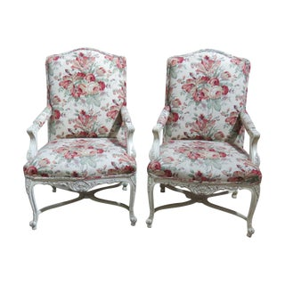 Louis XVI-Style Distressed Painted Fauteuils - A Pair For Sale