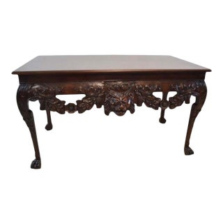 Baker Stately Homes- Irish Baroque Carved Mahogany Side Table For Sale