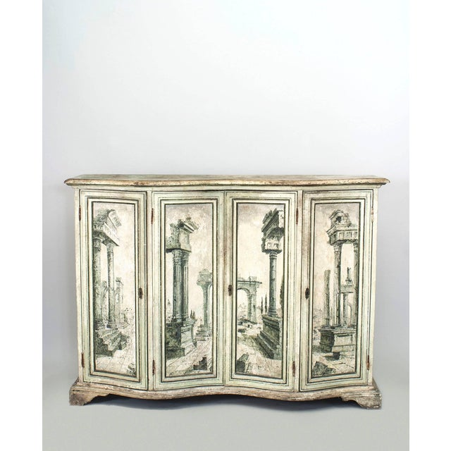 Wood Pair of Italian Neoclassical Grisaille Painted Commodes For Sale - Image 7 of 7
