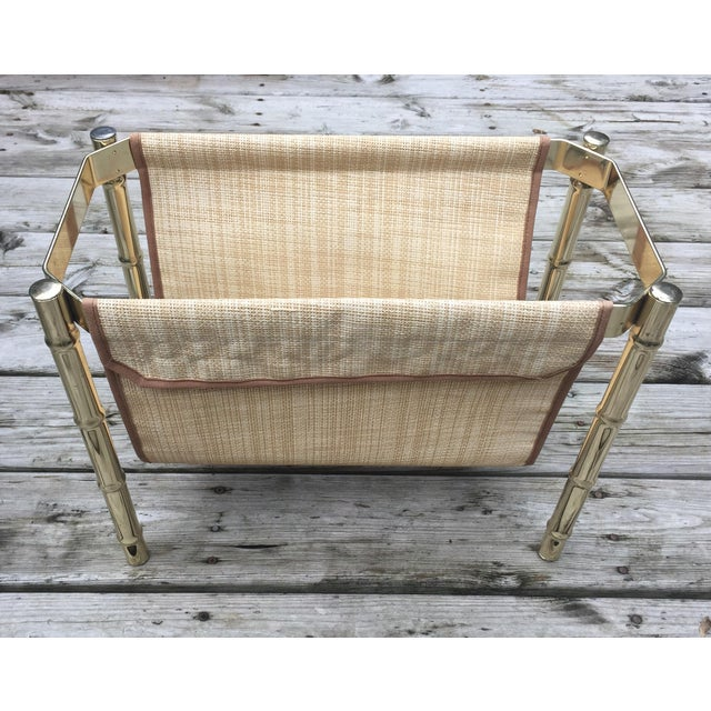 Brass Faux Bamboo Magazine Rack For Sale - Image 4 of 9