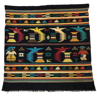 Vintage Mid-Century Handwoven Peruvian Textile Wall Hanging For Sale