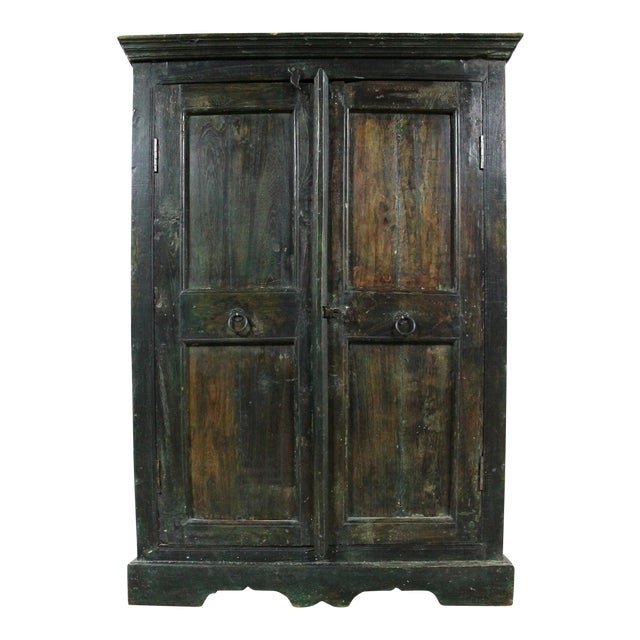 Rustic Primitive Cupboard Storage Cabinet with Distressed Paint For Sale