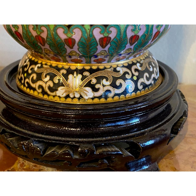 Metal 19th Century Chinese Cloisonné Vases-a Pair For Sale - Image 7 of 10