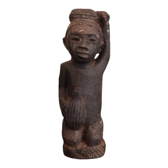 African Tribal Art The Worker Statue Carved Stone Figurine For Sale