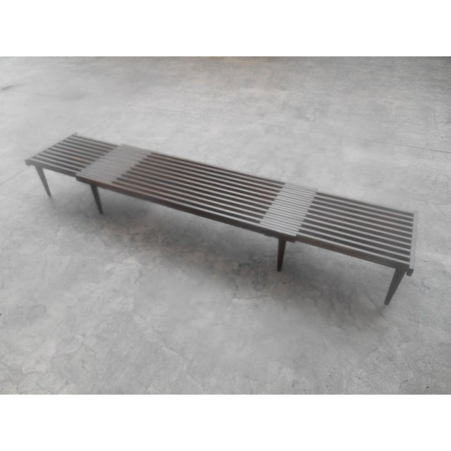 Brown Mid-Century John Keal for Brown-Saltman Expandable Slat Bench For Sale - Image 8 of 8