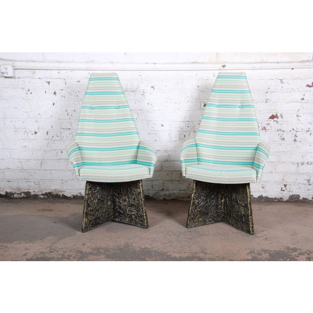 Adrian Pearsall Adrian Pearsall Mid-Century Brutalist High Back Lounge Chairs - a Pair For Sale - Image 4 of 10