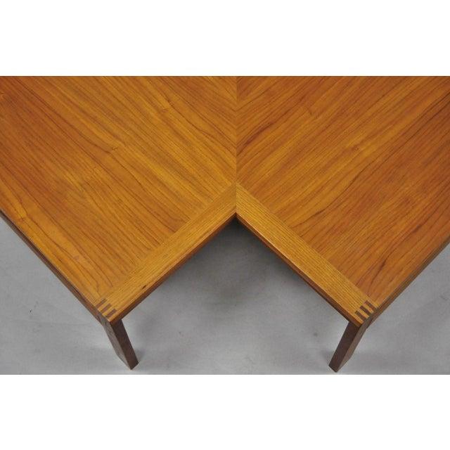 1960s 1960s Mid-Century Modern Ole Gjerlov-Knudsen & Torben Lind Moduline France & Son Corner Teak Coffee Table For Sale - Image 5 of 13