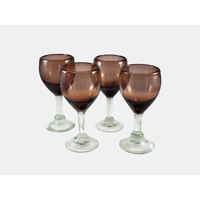 Boho Chic Contemporary Mauve Wine Glasses - Set of 4 For Sale - Image 3 of 3