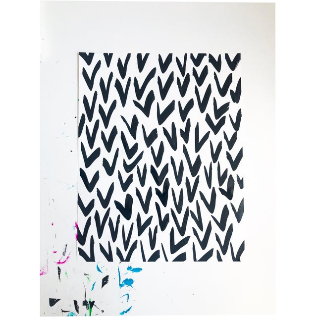 2010s Contemporary Black and White Pattern Painting For Sale - Image 5 of 5