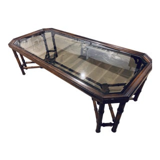 Vintage Chinoiserie Faux Bamboo Coffee Table For Sale